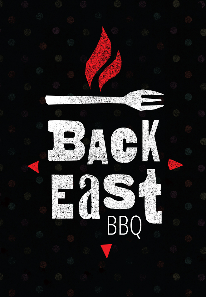Back East BBQ logo with fork logo, flame and compass points.