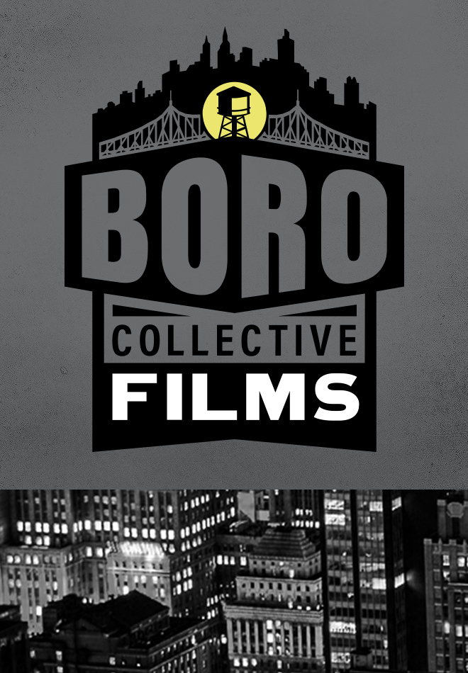 Boro Collective Films logo design with watertower, Queens Bridge & NYC skyline.