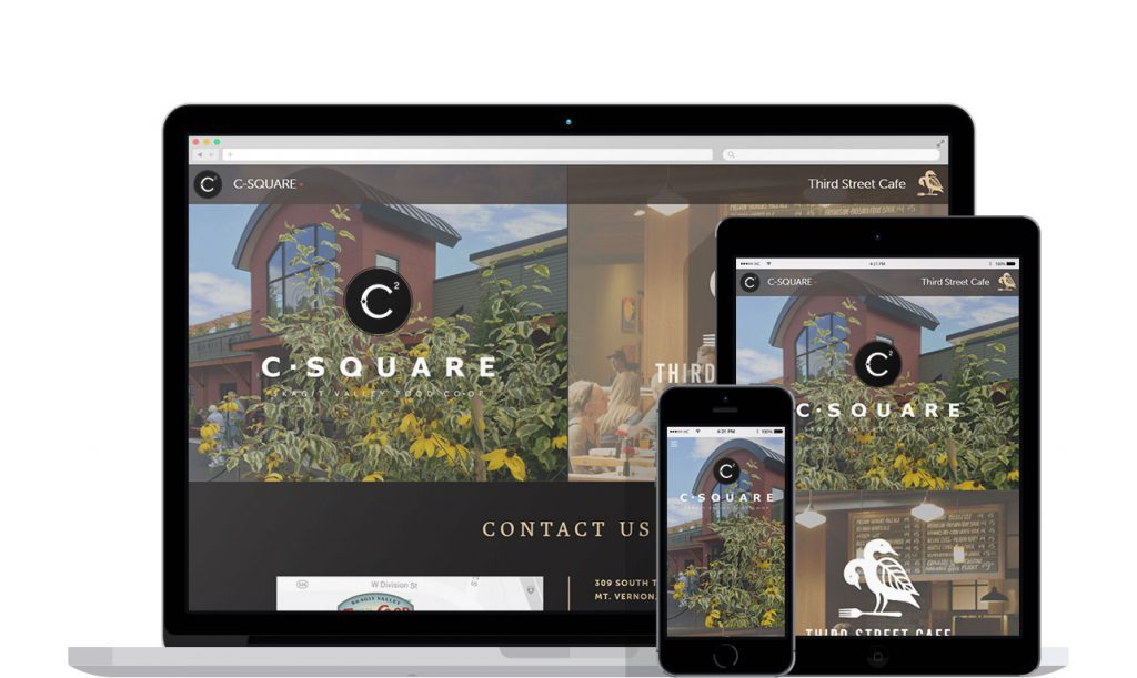 Website shown on large screen, tablet and mobile phone.