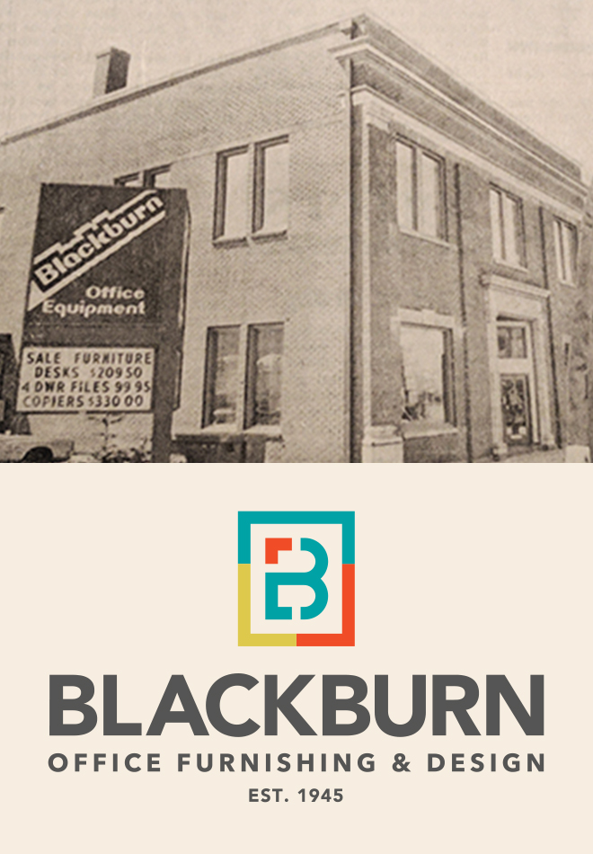 Blackburn Office Furnishing & Design logo with historic building & sign photo above.